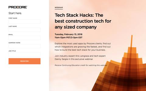 Screenshot of Landing Page procore.com - Tech Stack Hacks - captured March 2, 2018