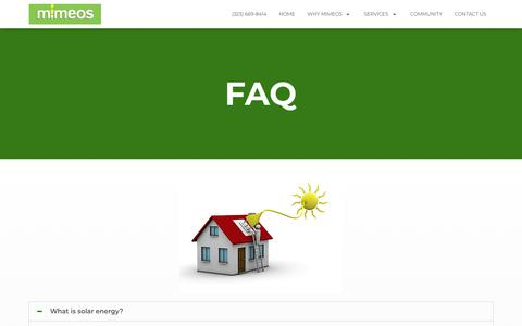 Screenshot of FAQ Page mimeos.net - Faq - Solar Company Los Angeles - captured Dec. 20, 2018