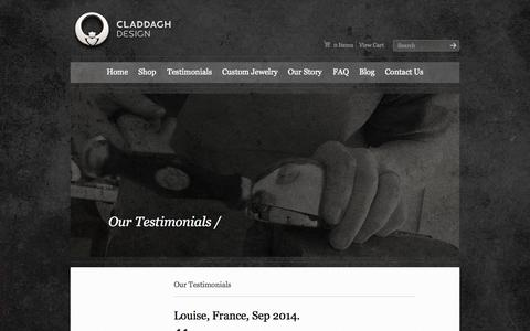 Screenshot of Testimonials Page claddaghdesign.com - Testimonials | Claddagh Design | Celtic Jewelry Handmade in Ireland - captured Sept. 30, 2014