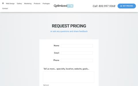 Screenshot of Pricing Page optimized360.com - Get Web Design & Marketing Pricing - captured July 14, 2018