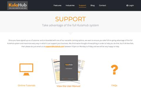 Screenshot of Support Page kulahub.com - Support - Personal support and dedicated account management | KulaHub - captured Dec. 20, 2018