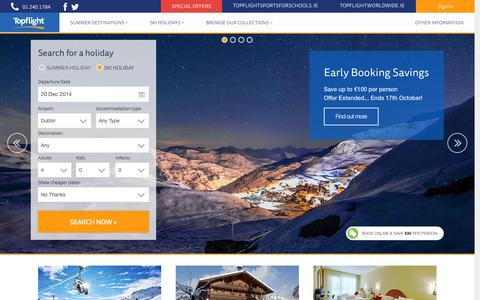Screenshot of Home Page topflight.ie - Topflight | Ski Holidays | Italian Sun Specialist - captured Oct. 7, 2014