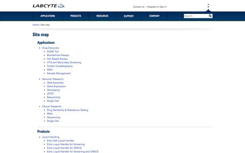 Screenshot of Site Map Page labcyte.com - Site map   Labcyte Inc. - captured June 17, 2015