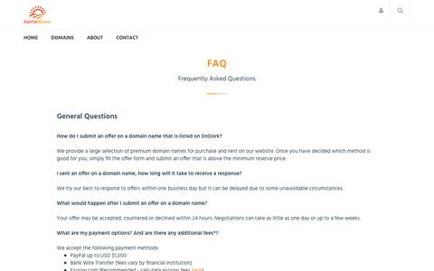 Screenshot of FAQ Page tynca.com - Frequently Asked Questions - captured Sept. 21, 2018