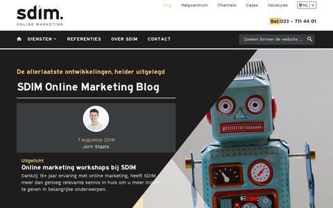 Screenshot of Blog sdim.nl - Online Marketing blogs, nieuws en tips van SDIM - captured Sept. 9, 2019