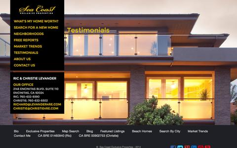 Screenshot of Testimonials Page coastalhomespecialists.com - Testimonials Archive | Seacoast - captured Nov. 1, 2014