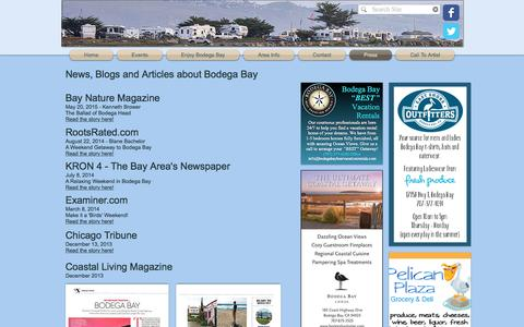Screenshot of Press Page visitbodegabayca.com - #1 Bodega Bay Area Website - Official Bodega Bay Site | Press - captured Jan. 15, 2017