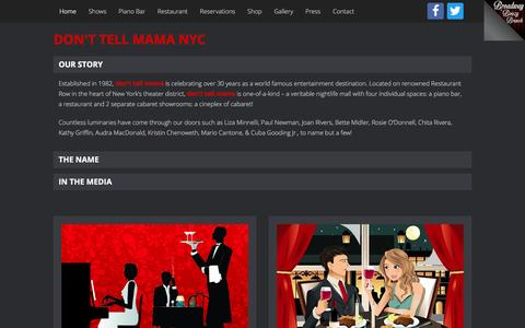Screenshot of Home Page donttellmamanyc.com - Don't Tell Mama NYC   Restaurant   Piano Bar   Cabaret - Dont Tell Mama NYC - Best Piano Bar in NYC - captured April 13, 2017