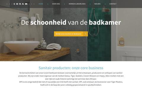 Screenshot of Home Page coram.nl - Coram International - Badkamer merken & bedrijven - captured Jan. 23, 2015