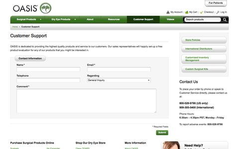 Screenshot of Support Page oasismedical.com - OASIS Medical -  Customer Support - captured Oct. 8, 2014