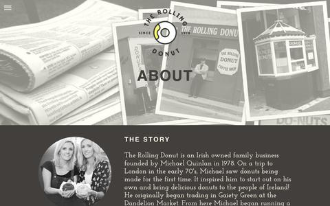 Screenshot of About Page therollingdonut.ie - About —  The Rolling Donut - captured Sept. 21, 2018