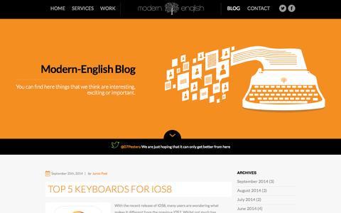 Screenshot of Blog modern-english.co.uk - Blog - Modern-English Digital - captured Oct. 1, 2014