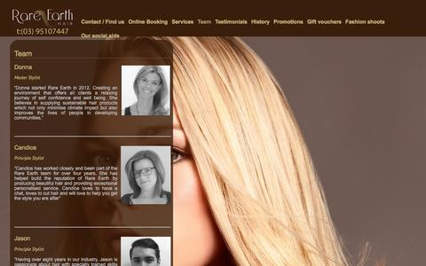 Screenshot of Team Page rareearthhair.com.au - Rare Earth Hair Prahran - Team | Rare Earth Hair Salon - captured Feb. 23, 2016