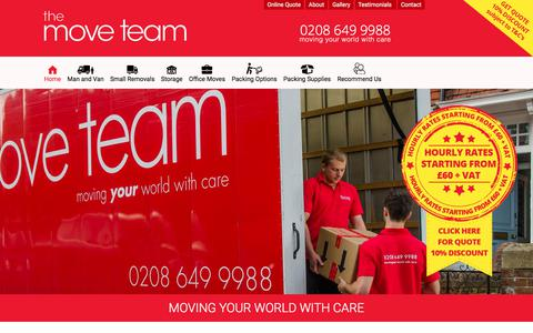Screenshot of Home Page themoveteam.co.uk - Removals in London | The Move Team - captured Sept. 21, 2018