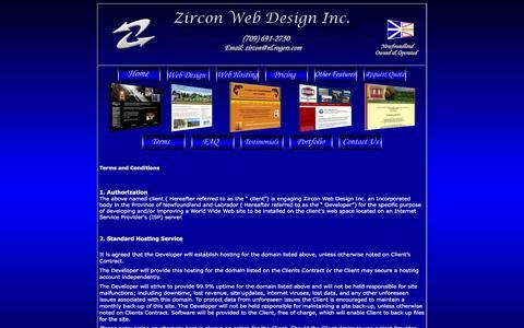 Screenshot of Terms Page zirconplace.com - Zircon Web Design & Hosting - Website Development,Web Page Design, Maintenance Packages, Newfoundland, Labrador, Corner Brook,Terms - captured April 2, 2016