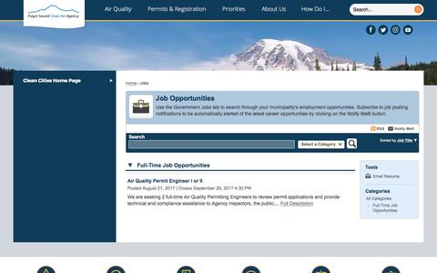 Screenshot of Jobs Page pscleanair.org - Puget Sound Clean Air Agency, WA - captured Sept. 19, 2017
