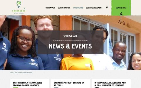 Screenshot of Press Page ewb-uk.org - News & Events | Engineers Without Borders - captured Jan. 29, 2016