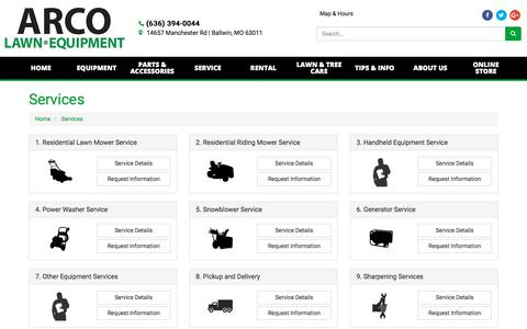 Screenshot of Services Page arcolawn.com - Services ARCO Lawn Equipment Ballwin, MO (636) 394-0044 - captured Oct. 9, 2017