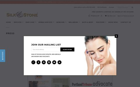 Screenshot of Press Page silknstone.com - Silk & Stone Press - captured Oct. 18, 2018