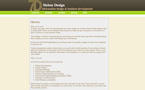 Screenshot of Pricing Page siebendesign.net - Pricing - General guide to how much your Web based project will cost - captured Oct. 9, 2014