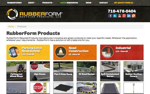 Screenshot of Products Page rubberform.com - Products | RubberForm Recycled Products, LLC - captured Oct. 10, 2014