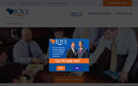 Screenshot of About Page joyelawfirm.com - About Us | Joye Law Firm - captured Nov. 25, 2015