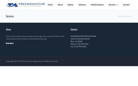 Screenshot of Services Page tnov.com - Services | Technovative Applications - captured Oct. 18, 2018