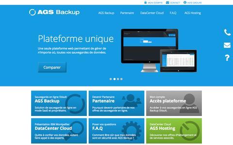 Screenshot of Home Page ags-backup.com - Sauvegarde en ligne - AGS Backup - captured Sept. 30, 2014