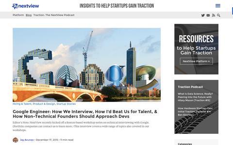 Screenshot of Blog nextviewventures.com - Startup Traction Blog from NextView - captured Dec. 22, 2015