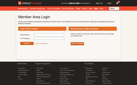 Screenshot of Signup Page Login Page inboxfitness.com - Inbox Fitness | Secure Member Login - captured Oct. 23, 2014