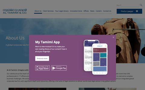 Screenshot of About Page tamimi.com - About Us | Al Tamimi & Company - captured Sept. 21, 2019