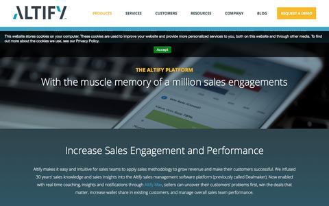 Screenshot of Products Page altify.com - Sales Management Software   Sales Platform   Altify - captured Sept. 14, 2017