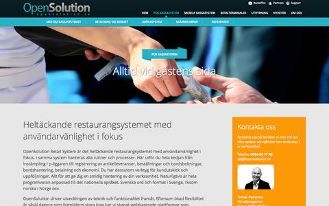 Screenshot of Home Page opensolution.se - Kassalösningar för alla miljöer - Open Solution - captured Oct. 6, 2014
