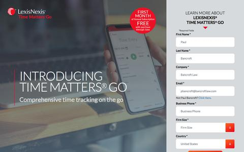 Screenshot of Landing Page lexisnexis.com - Time Matters - captured June 1, 2018