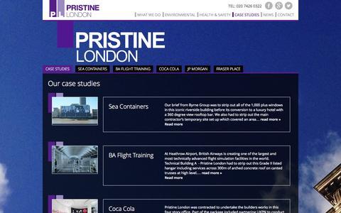 Screenshot of Case Studies Page pristinelondon.co.uk - Strip Outs | Case Studies | JP Morgan | Fraser Place | Goldman Sachs | Pristine London - captured Sept. 30, 2014