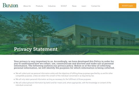 Screenshot of Privacy Page buxtonco.com - Buxton | Buxton Privacy Statement - captured Jan. 14, 2016