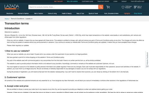 Screenshot of Terms Page lazada.vn - Terms & Conditions - Lazada.vn - captured Dec. 20, 2016
