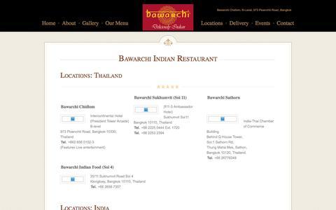 Screenshot of Locations Page bawarchiindian.com - Bawarchi Indian Restaurant - captured Feb. 7, 2016