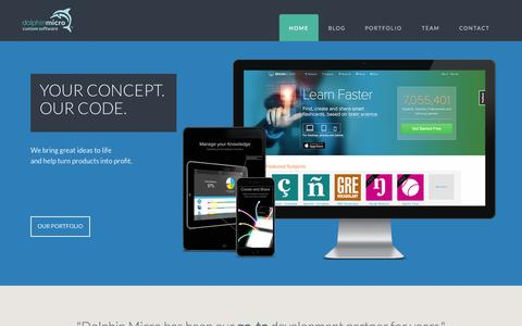 Screenshot of Home Page dolphinmicro.com - Startup Development & Custom Software — Dolphin Micro, Inc. - captured Sept. 12, 2015