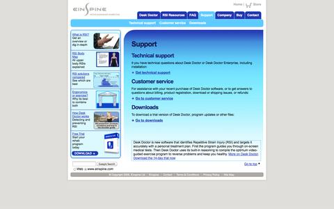 Screenshot of Support Page einspine.com - Desk Doctor technical support, customer service and download pages - captured Oct. 2, 2014