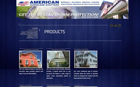 Screenshot of Products Page ahscarolinas.com - Hurricane Shutters Wilmington | Storm Shutters Myrtle Beach - captured Oct. 4, 2014