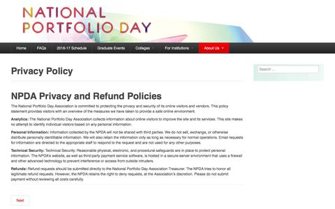 Screenshot of Privacy Page portfolioday.net - Privacy Policy - NATIONAL PORTFOLIO DAY ASSOCIATION - captured May 24, 2016
