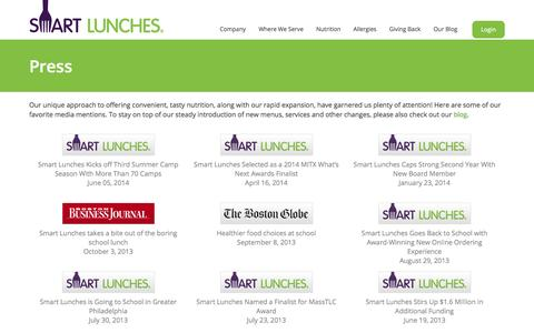 Screenshot of Press Page smartlunches.com - Smart Lunches | Press - captured Sept. 17, 2014