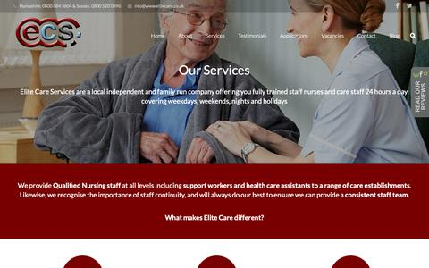Screenshot of Services Page elitecare.co.uk - Elite Care Services - Nursing & Care Agency in Hampshire & West Sussex - captured Sept. 27, 2018