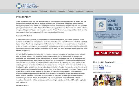 Screenshot of Privacy Page thrivingbusiness.com - Privacy Policy | ThrivingBusiness.com Inc. - captured Oct. 5, 2014