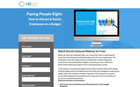 Screenshot of Landing Page hrsoft.com - Paying People Right:  How to Attract & Retain Employees on a Budget - captured Aug. 11, 2017