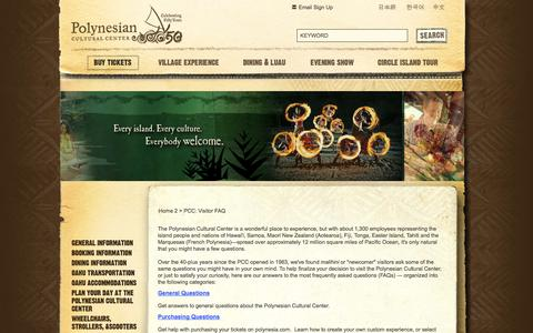 Screenshot of FAQ Page polynesia.com - Frequently Asked Questions | Polynesian Cultural Center - captured Sept. 25, 2014