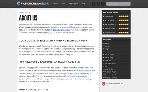 Screenshot of About Page webhostingreviewboards.com - About Us - Web Hosting Review Boards ™ - captured Oct. 30, 2014