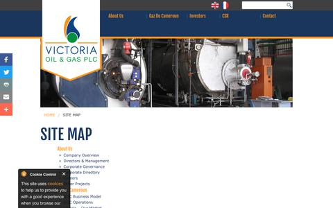 Screenshot of Site Map Page victoriaoilandgas.com - Site map | Victoria Oil and Gas - captured Nov. 9, 2018