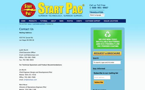 Screenshot of Contact Page startpac.com - Contact Us | Start Pac - captured Sept. 30, 2014